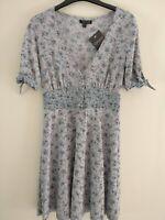 Topshop Ditsy Print Button Through Dress - Grey - UK8/EU36/US4