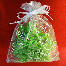 "10 White Organza Gift Bags With Silver Print Size: 7"" x 5"" Party Favor Bags"