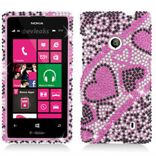 For Nokia Lumia 521 Crystal Diamond BLING Case Phone Cover Black Red Heart