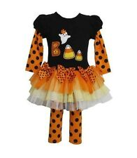 Bonnie Jean Baby Girls Halloween BOO Black Orange Mesh Fall Dress Outfit 6M New