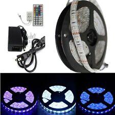 Waterproof 5M RGB 5050 SMD LED Strip light 300 LED &  44Keys IR+12V 5A Adapter