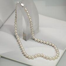 Collier Massive Argent 925 Perle Culture Blanc Presque Rond 7mm-8mm 45cm TZ1