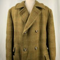Vintage 50s Wool Trench Coat 44 Green Brown Plaid Windowpane Double Breasted