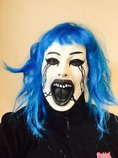 Evil Grudge Doll Mask Blue Hair Latex Halloween Horror Fancy Dress Costume