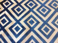 Lee Jofa/Groundworks Geometric Upholstery Fabric- Fiorentina Velvet/Navy- 3.35yd