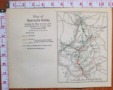 BOER WAR ERA MAP/BATTLE PLAN NORTHERN NATAL 1899 BOER INVASION TROOP POSITIONS