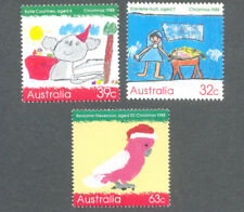 Australia-Christmas 1988 Childrens Art-1165/7-mnh set of 3