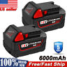 (2) For MILWAUKEE M18 18V 18 Volt Li-Ion XC 6.0 AH Battery 48-11-1850 48-11-1828