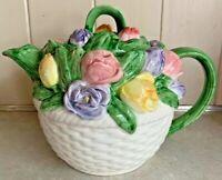 Vintage Otagiri Mary Ann Baker Floral Basketweave Tulip Teapot & Lid
