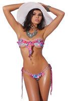 Sexy floral print ruffle bandeau thong bikini set