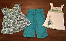 NAARTJIE SIZE 9 MENDI MORO PEASANT TOP EMBROIDERED TANK TOP SHORTS BLUE WHITE