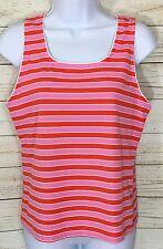 Tail Le Batik Pink Orange Striped Classic Fit Tank Top Size M NWT