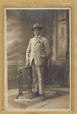 Carte Photo vintage card RPPC Lyon homme costume chapeau borsalino pz0206