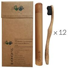 12 Pack Bamboo Toothbrushes Charcoal enhanced (Soft - Adult) + Case - Greenilk
