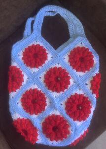 Cute Handmade Crochet Red Flower Blue And White Shoulder Bag Purse