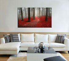 Autumn leaves print on canvas, forest wall art red leaves print on canvas