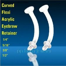 "Retainer 16ga 1/4"" 5/16"" 3/8"" 1/2"" 2pcs Curved Flexi Acrylic with O-Ring Eyebrow"