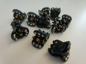 Small Plastic Black Claw clips Small Rhinestones 10 Pcs-Hair Accessories-NEW
