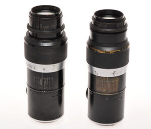 Leitz two different 135mm F:4.5 Hektor black for Leica M39 cameras sold as is