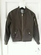 New listing F&F Girls 12 Yr Khaki Green Bomber Jacket Zip Up With Pockets Gold accents
