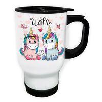 U&Me Unicorn Couple White/Steel Travel 14oz Mug ff524t
