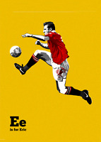 Eric Cantona Retro Glossy Art Print 8x10 Inches Manchester United Football