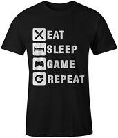 Eat Sleep Game Repeat Gaming Gamer Tee T-Shirt Xbox Playstation Unisex
