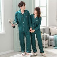 Women Men Silk Satin Pajamas Sets Long Sleeve Pyjamas Sleepwear Nightwear Lovers