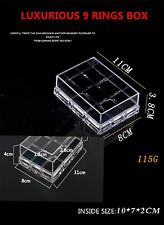 Clear Acrylic Rings Jewellery Display Box Earring Travel Carry Storage Case