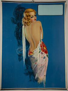 1930s Art Deco Billy Devorss Pin Up Calendar Print Glamorous Blonde Flapper