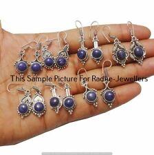 Lapis Lazuli 5 Pair Wholesale Lots 925 Sterling Silver Plated Earrings Ff-235
