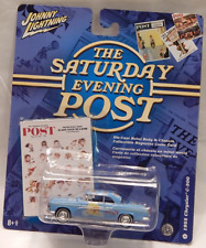 Johnny Lightning Saturday Evening Post 1955 Chrysler C-300 Blue White Line Tires