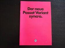 VW  PROSPEKT   Der neue Passat Variant synchro 1984