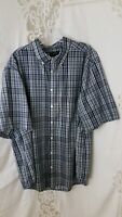 """Faded Glory"" 2 XL (50-52) Men's Dark Navy Blue Plaid Short Sleeve Shirt"