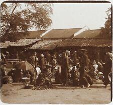 Marché Asie Indo chine Photo F2 Plaque de verre Stereo Vintage