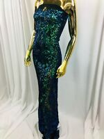 4 Way Stretch Sequins Fabric Iridescent Green Mesh Lace Fabric Prom-Gown 1 Yard