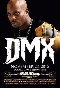 DMX 2016 NEW YORK CITY CONCERT TOUR POSTER - Hip Hop, Rap Music Legend R.I.P.!