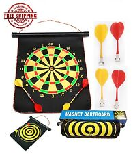 "17"" Magnetic Rollup Dart Board w/ 6 Darts Large Double Side Dartboard Game Gift"