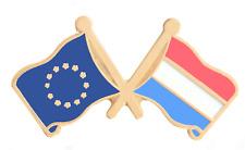 Luxembourg & Union Européenne Eu Drapeau Amitié Courtoisie Plaqué or Broche