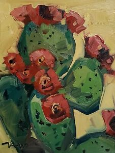 JOSE TRUJILLO Oil Painting IMPRESSIONISM PLANT FLOWERS 11X14 PRICKLY PEAR CACTUS