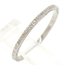 Antique Art Deco Etched 18k White Gold 1.20mm Eternity Wedding Band Ring Sz 5.0
