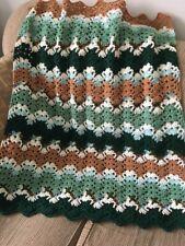 Teal Blue Tan Chenille Ready To Ship Modern Lap Throw Baby Customizable Boy Prince Blanket Chunky Toddler Kid Crochet Handmade Afghan