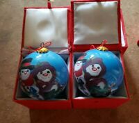 "2 ""LI BIEN"" SNOWMAN COUPLE Reverse Inside Painting Glass Christmas Ornaments"