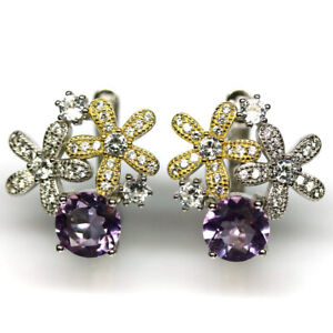 NATURAL 8 mm. PURPLE AMETHYST & WHITE CZ EARRINGS 925 STERLING SILVER