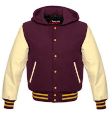 New College Jacket Baseball HOODIE in wool with hood and cowhide arms