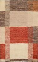 Modern Geometric Gabbeh Kashkoli Oriental Area Rug Hand-knotted Foyer Carpet 3x4