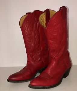 Vintage Cherry Red Nocona Women's Cowboy Boots USA Size 6 6.5. 7
