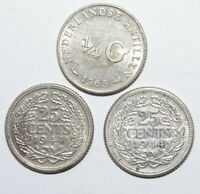 1944 x 2 & 1965, 25 Cents & 1/4 Gulden Netherlands Lot of 3 Silver Value Coins