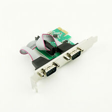 PCI-E Express to Dual Serial DB9 RS232 2-Ports Controller Adapter Card Win 8 10