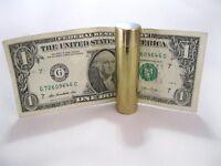 Slim Brass Bill Tube Make Dollar Disappear From Locked Tube Money Magic Trick